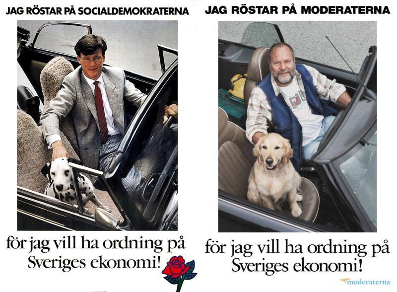 1985년 사민당 선거포스터(왼쪽)와 이를 패러디한 2010년 보수당(온건당)의 선거포스터(오른쪽)