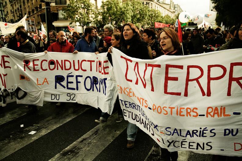 2010년 연금 개악에 맞서 파업에 나선 프랑스 노동자들