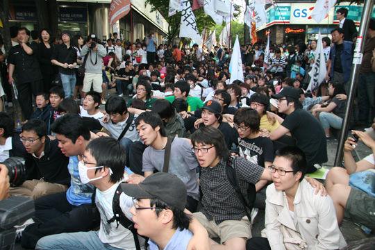 5월 30일 범국민대회에 참가한 대학생들