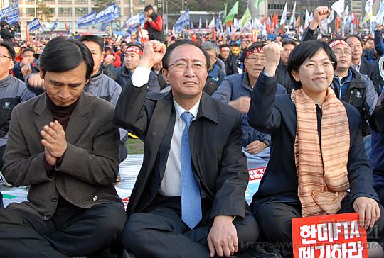 11월 13일 전국노동자대회에 참가한 민주노동당·통합연대·참여당 대표
